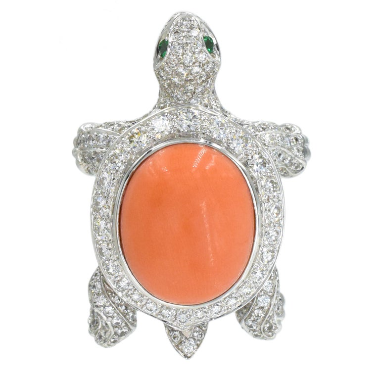 Oval Cut Cartier Diamond, Coral and Emerald Turtle Brooch For Sale
