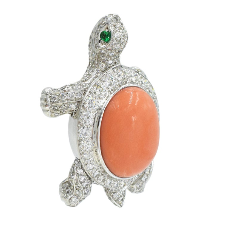 Cartier Diamond, Coral and Emerald Turtle Brooch In Excellent Condition For Sale In New York, NY