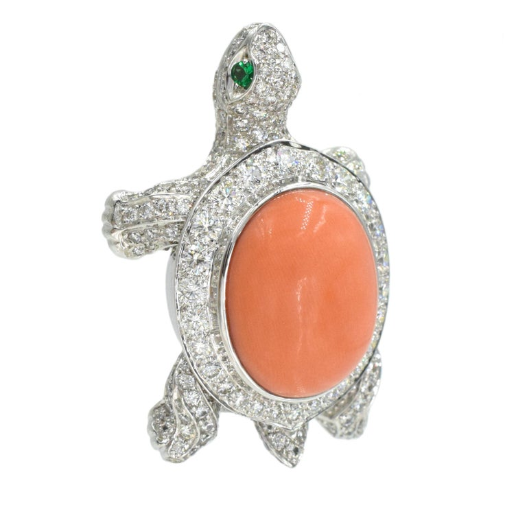 Women's or Men's Cartier Diamond, Coral and Emerald Turtle Brooch For Sale