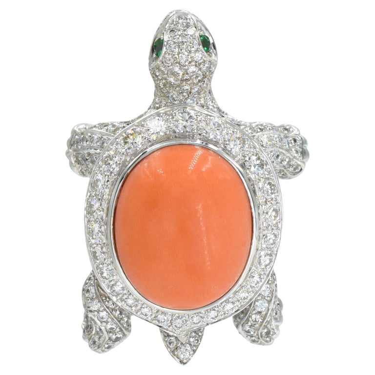 Cartier Diamond, Coral and Emerald Turtle Brooch For Sale