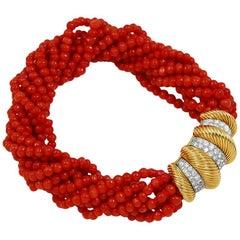 1960s Cartier Paris Diamond  Coral Bead Torsade Bracelet