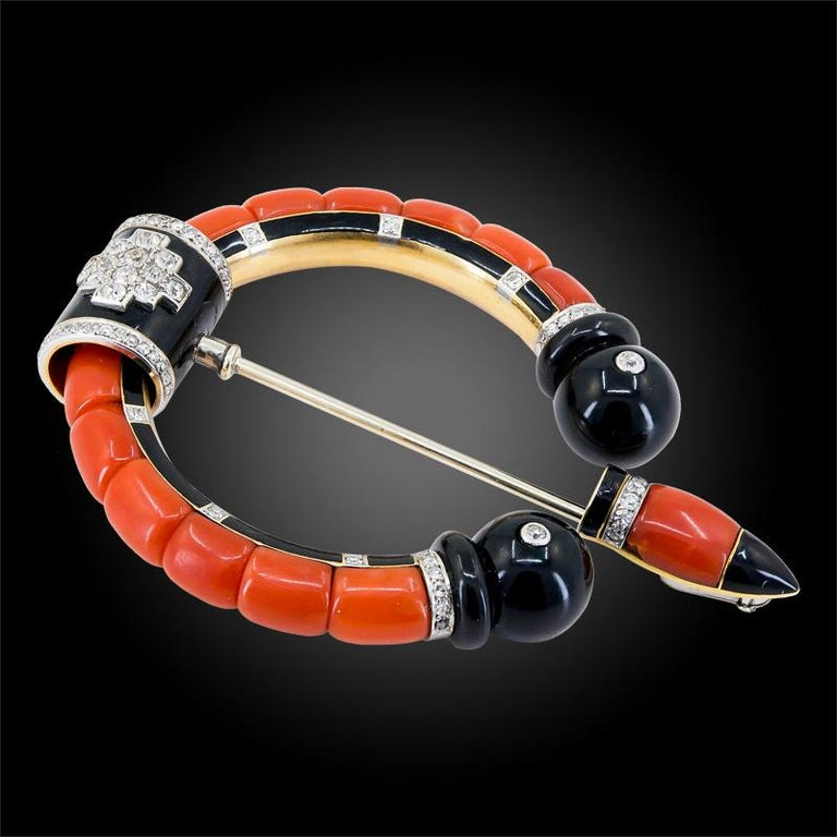 Cartier Diamond, Coral, Onyx Brooch In Good Condition For Sale In New York, NY