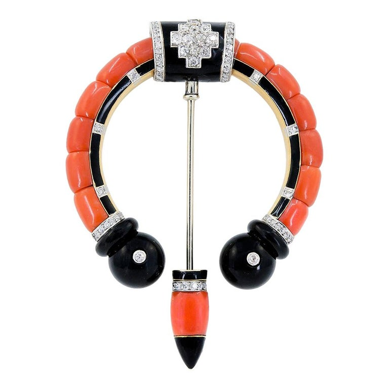 Cartier Diamond, Coral, Onyx Brooch For Sale