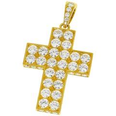 Cartier Diamond Cross 18 Karat Yellow Gold Cles de Budou Waal Pendant