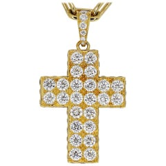 Cartier Diamond Cross 18k Gold Cles de Budou Waal Pendant Spartacus Necklace