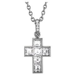 Cartier Diamond Cross Platinum Pendant Necklace