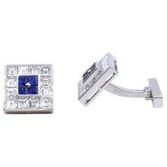 Cartier Diamond Sapphire Cufflinks