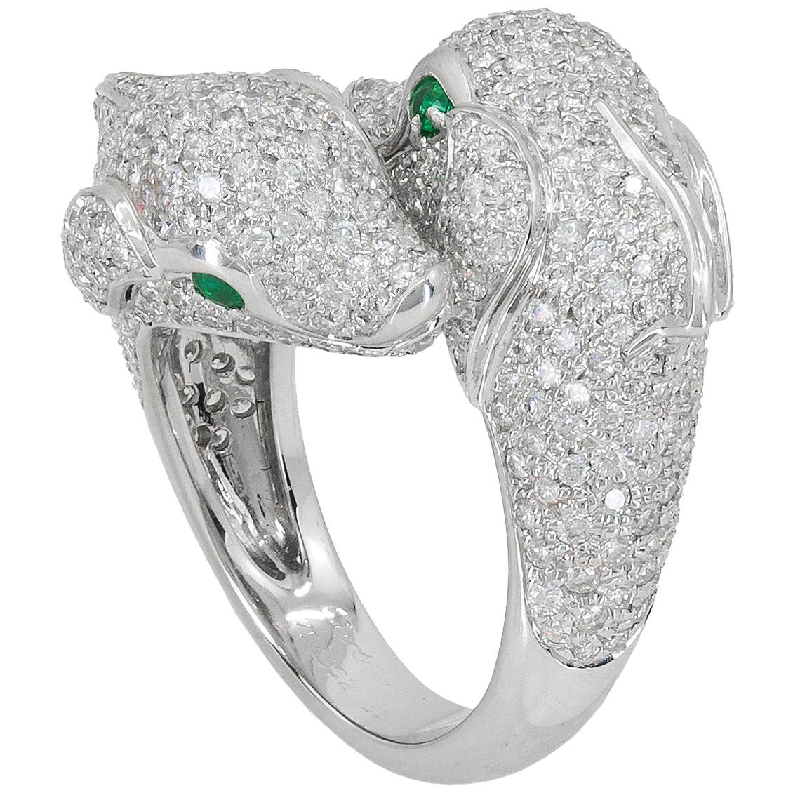 Cartier Diamond White Gold Dolphin Bypass Ring