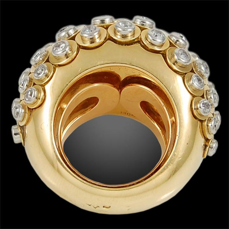Round Cut Cartier Diamond Dome Ring For Sale