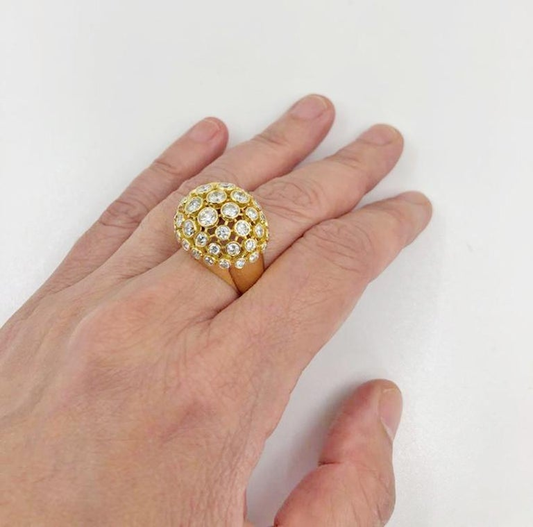 Round Cut Cartier Diamond Bombe Ring For Sale