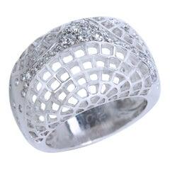 Cartier Diamond Dome Ring in 18 Karat White Gold 0.45 Carat