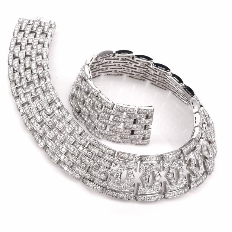 Art Deco Cartier Diamond Double C 18 Karat White Gold Choker Necklace For Sale