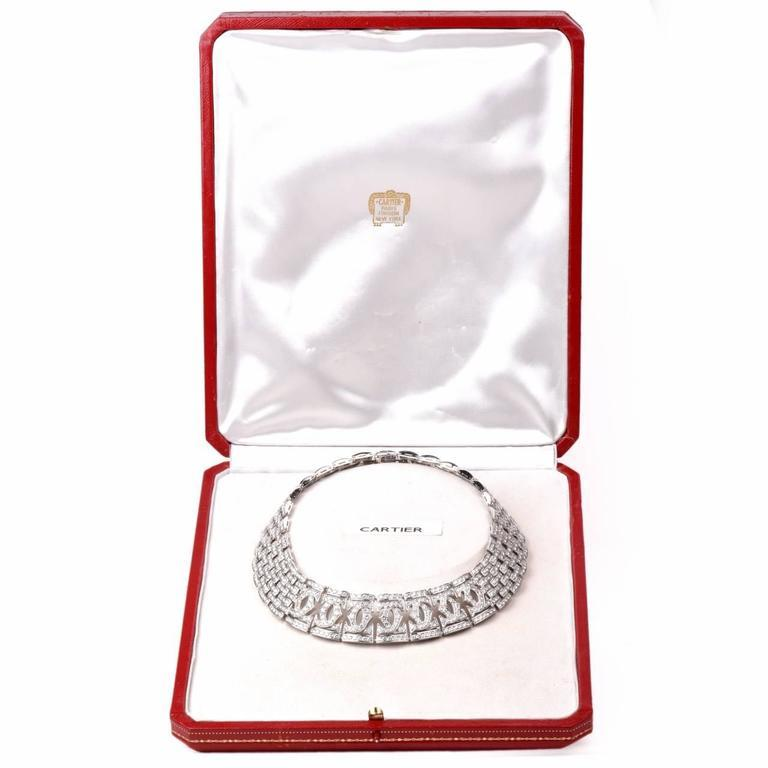Round Cut Cartier Diamond Double C 18 Karat White Gold Choker Necklace For Sale