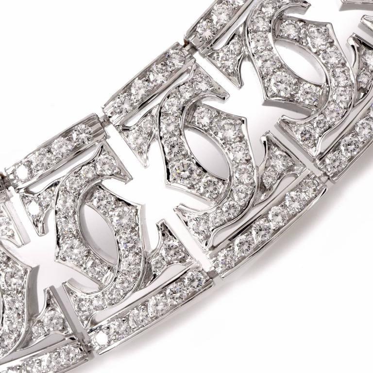 Cartier Diamond Double C 18 Karat White Gold Choker Necklace For Sale 1