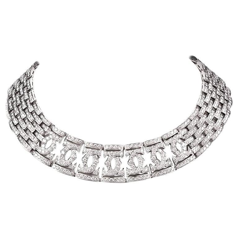 Cartier Diamond Double C 18 Karat White Gold Choker Necklace For Sale