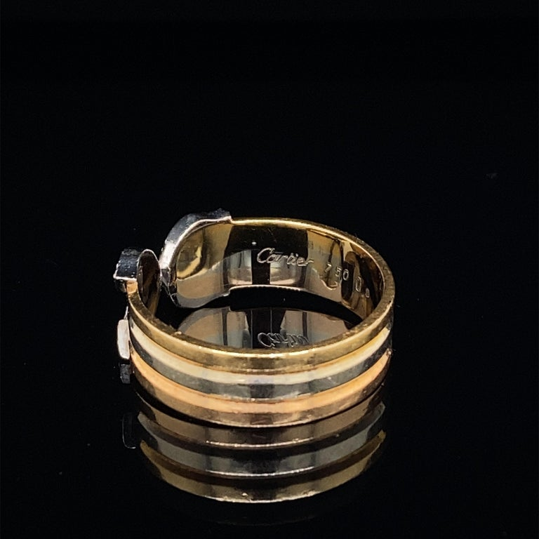 Modern Cartier Diamond Double C Tri-Color Gold Band Ring For Sale