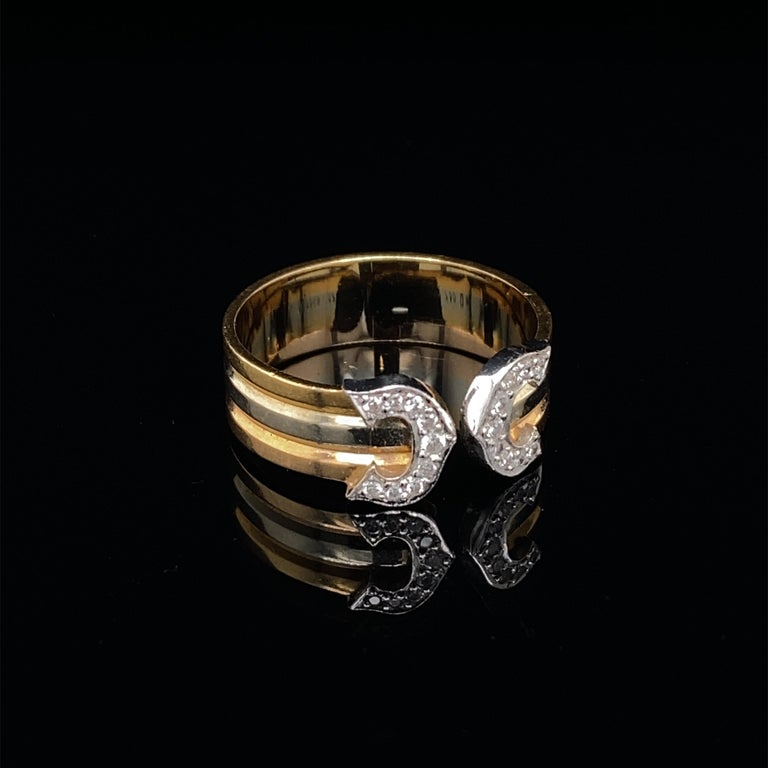 Round Cut Cartier Diamond Double C Tri-Color Gold Band Ring For Sale
