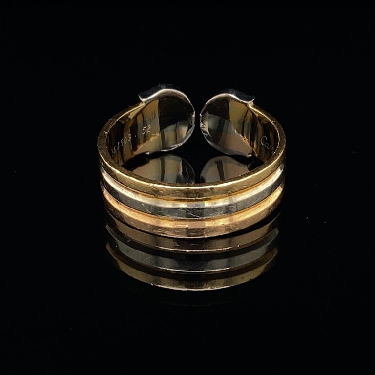 Cartier Diamond Double C Tri-Color Gold Band Ring In Good Condition For Sale In London, GB