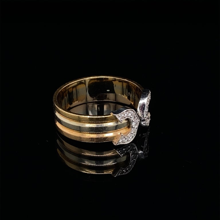 Women's or Men's Cartier Diamond Double C Tri-Color Gold Band Ring For Sale