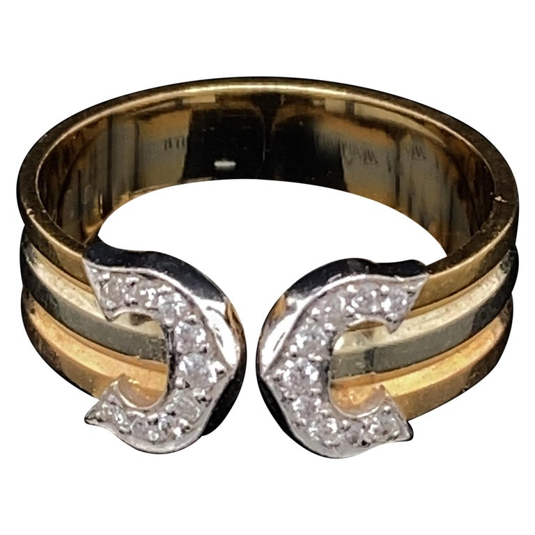 Cartier Diamond Double C Tri-Color Gold Band Ring For Sale
