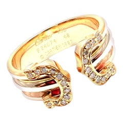 Cartier Diamond Double C Tri-Color Gold Band Ring