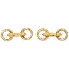 Cartier Diamond Double Circle Snaffle Cufflinks in Yellow Gold