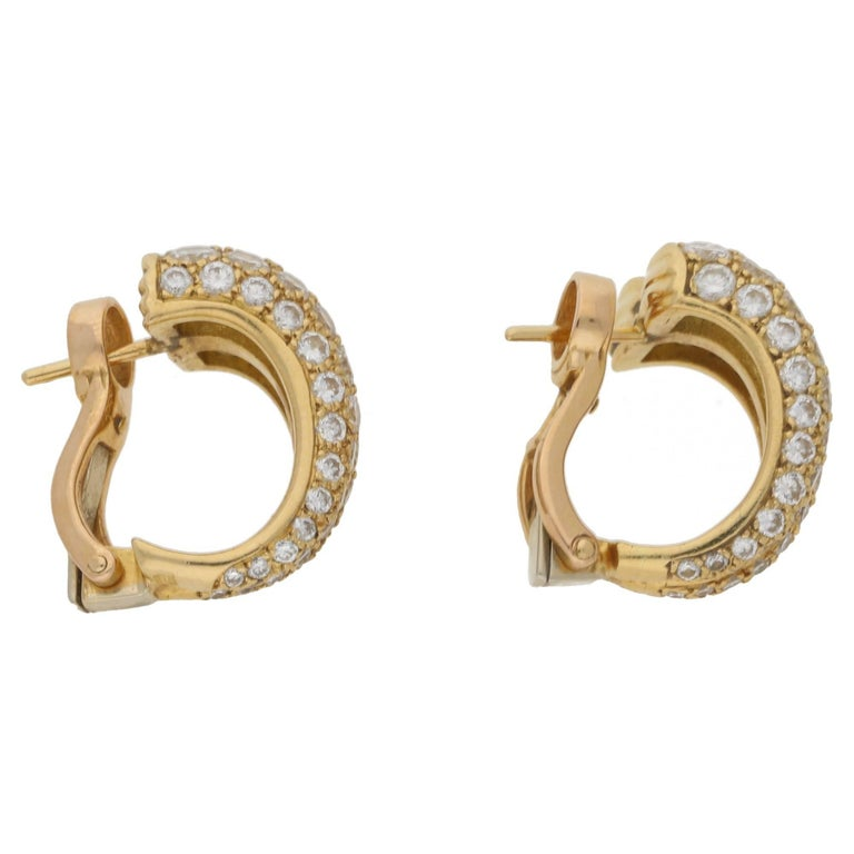 Cartier Diamond Double Hoop Earrings For Sale 1