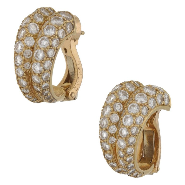 Cartier Diamond Double Hoop Earrings For Sale