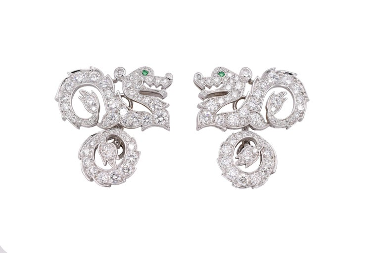 Cartier Diamond Dragon Cufflinks, Pair of beautiful diamond crusted  dragons with emerald eyes. Signed Cartier 2001 and numbered