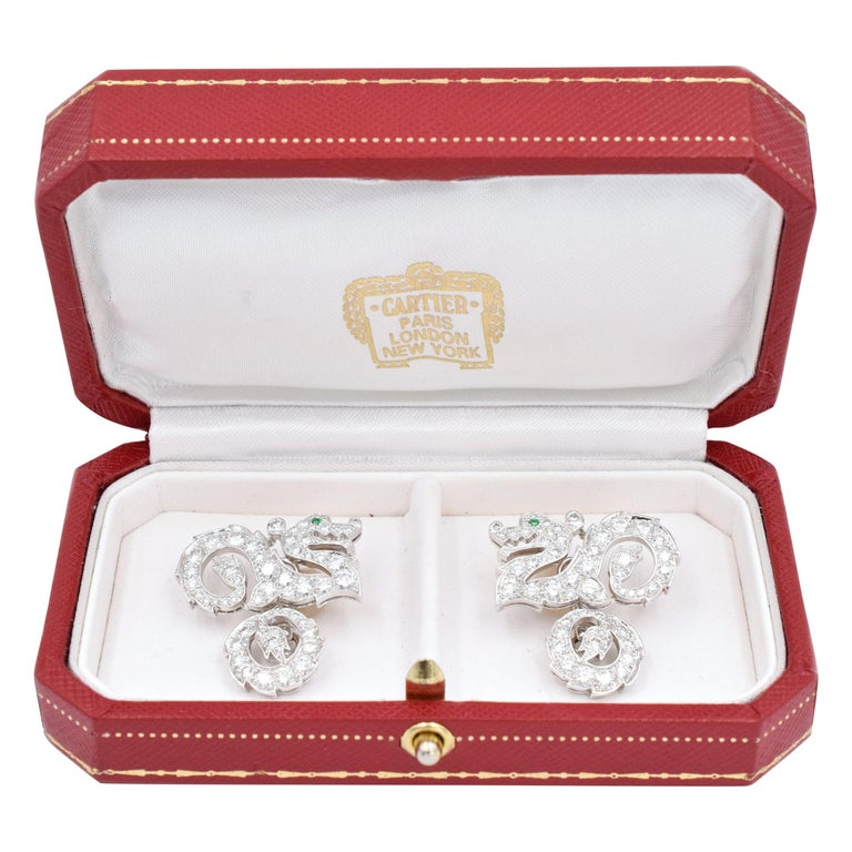 "Cartier Diamond ""Dragon"" Cufflinks For Sale"