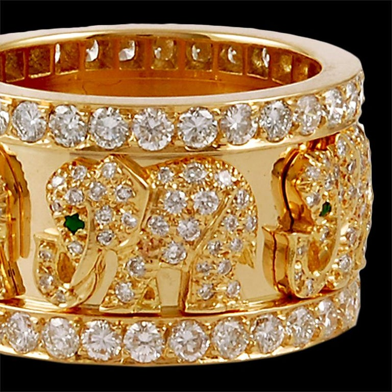 Women's Cartier Diamond Elephant Ring For Sale
