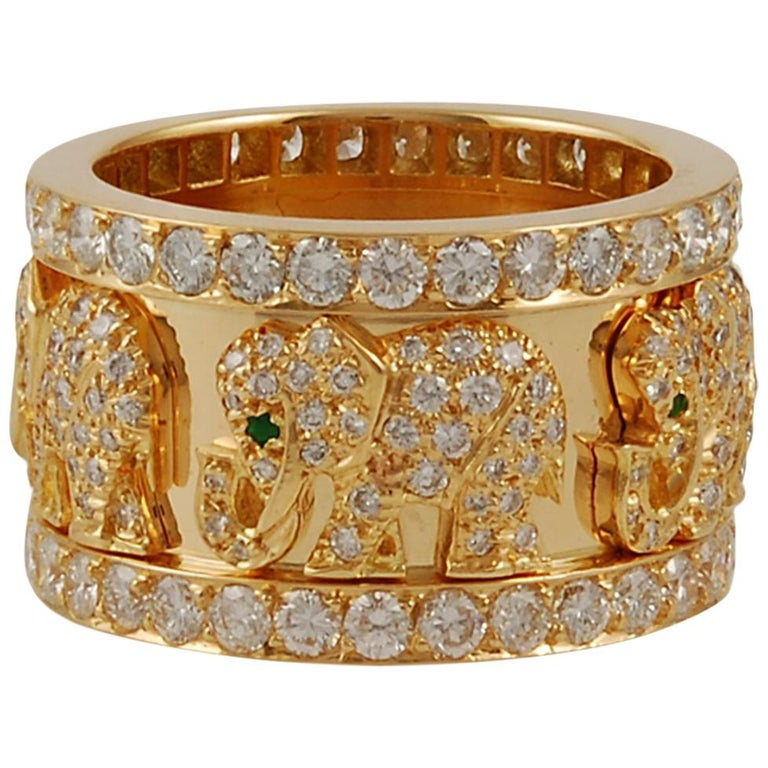 Cartier Diamond Elephant Ring For Sale