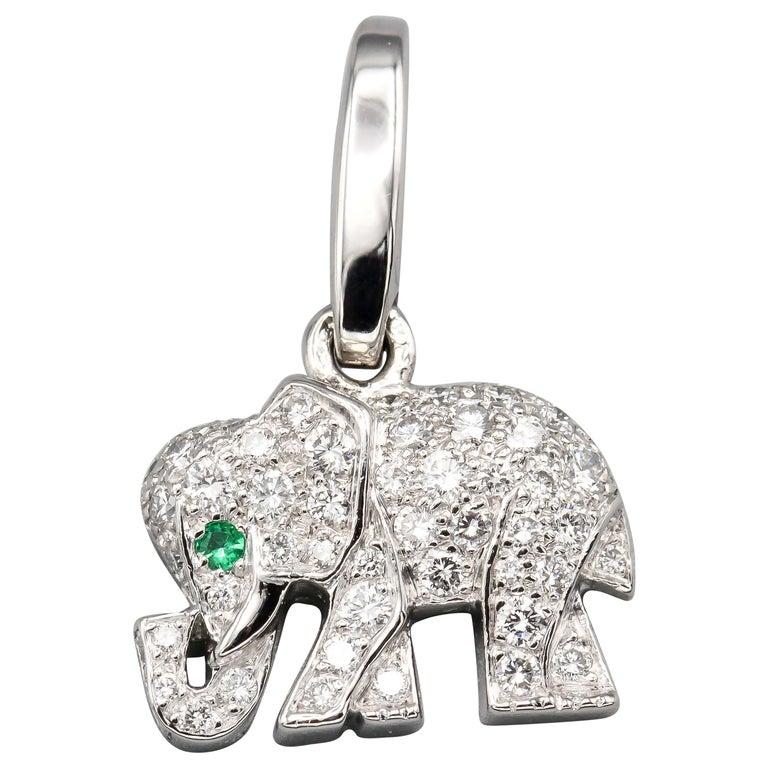 Cartier Diamond Emerald 18 Karat White Gold Elephant Charm For Sale