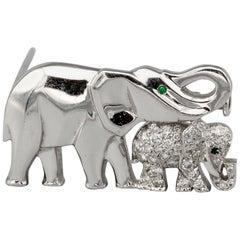 Cartier Diamond Emerald and 18 Karat White Gold Elephant Mother Brooch