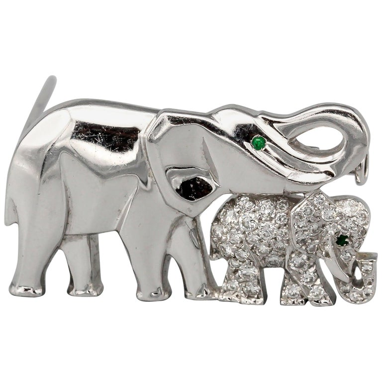 Cartier Diamond Emerald and 18 Karat White Gold Elephant Mother Brooch For Sale