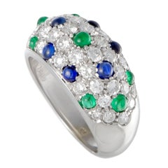 Cartier Diamond Emerald and Sapphire Pave Gold Band Ring