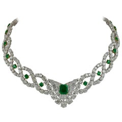 Cartier Diamond Emerald Demi Bib Necklace