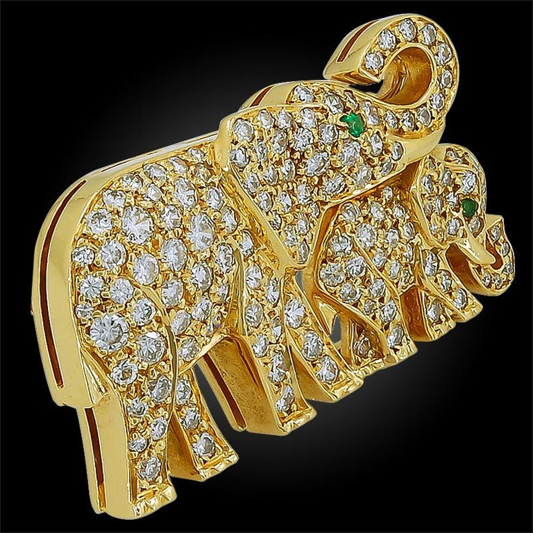 Women's or Men's Cartier Diamond Emerald Elephant Brooch