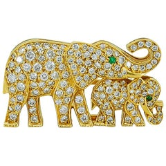 Cartier Diamond Emerald Elephant Brooch