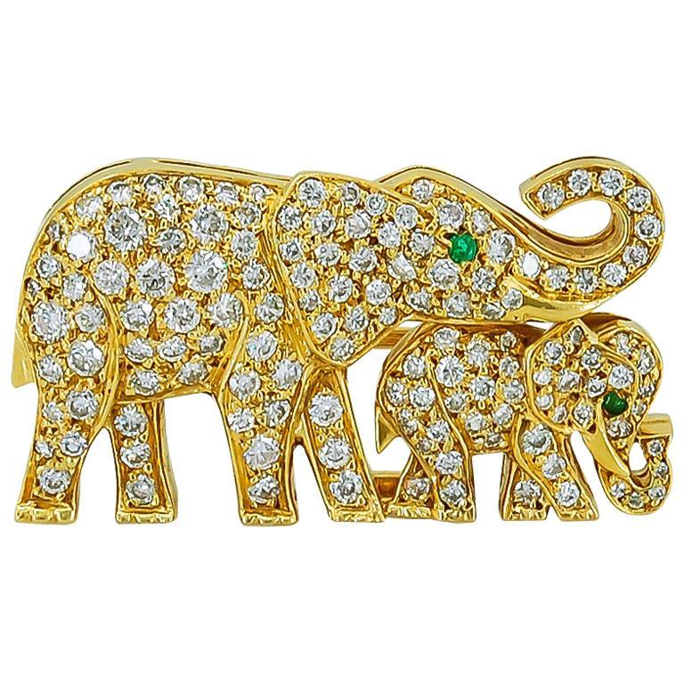 Cartier Diamond Emerald Elephant Brooch