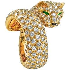 Cartier Diamond Emerald Eyes Panther Ring