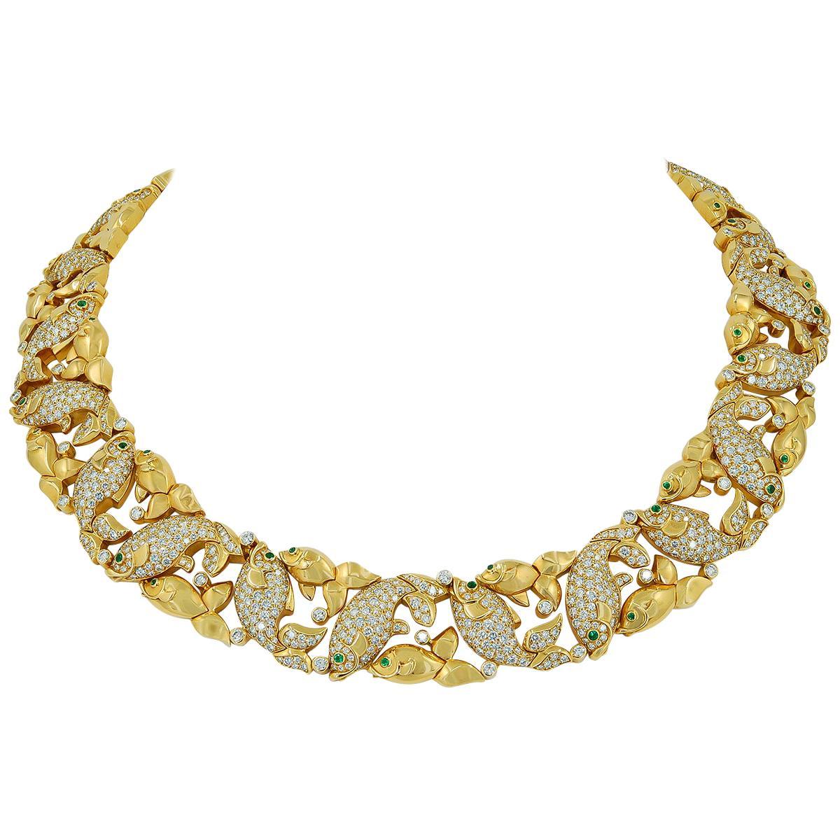 Cartier Diamond Emerald Goldfish Motif Necklace