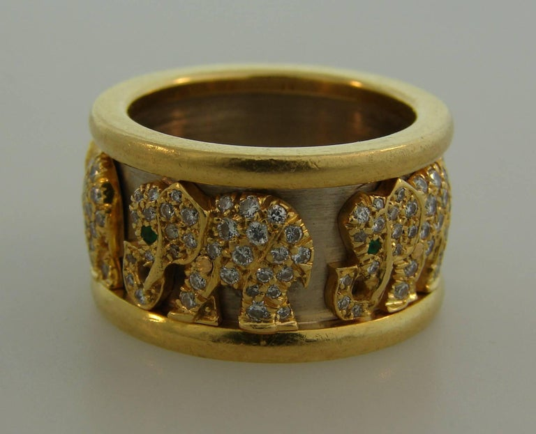 Cartier Diamond Emerald Gold Elephant Band Ring At 1stdibs