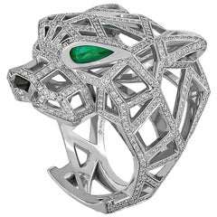 Cartier Diamond Emerald Onyx Openwork Panther Head Ring