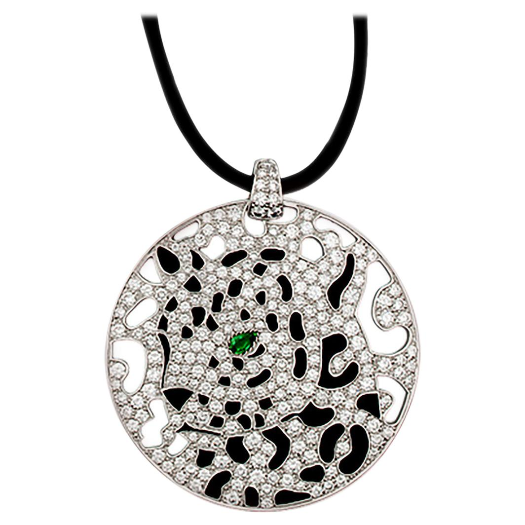 CARTIER Diamond, Emerald, Onyx Panther Disc Pendant/Necklace