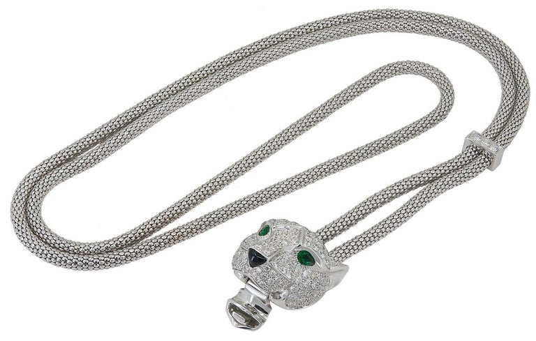 Round Cut Cartier Diamond Emerald Onyx Panther Head Necklace For Sale