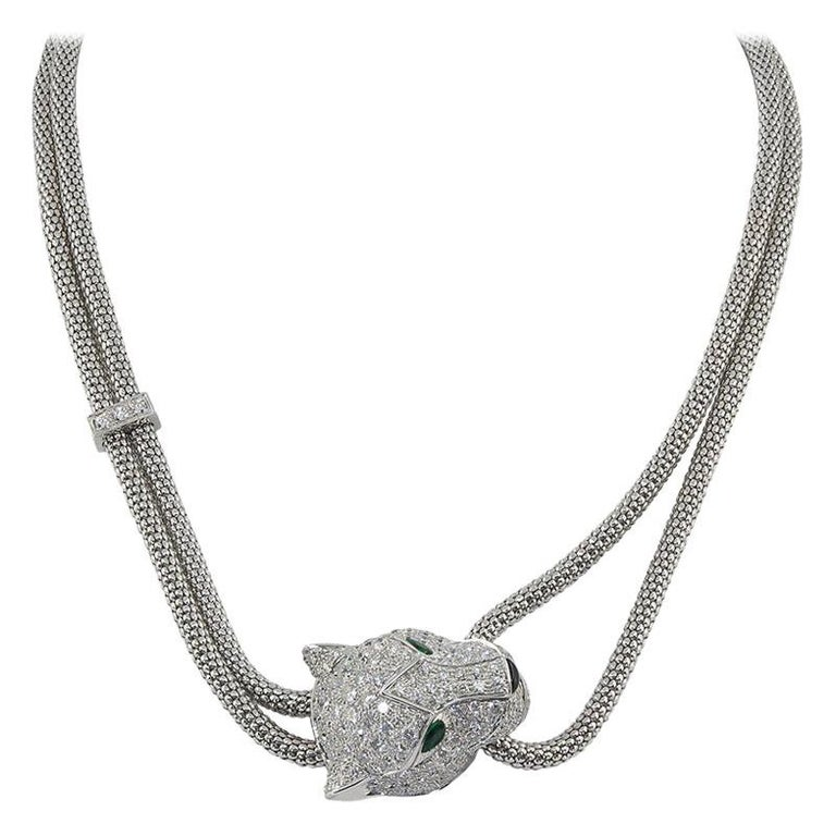 Cartier Diamond Emerald Onyx Panther Head Necklace For Sale