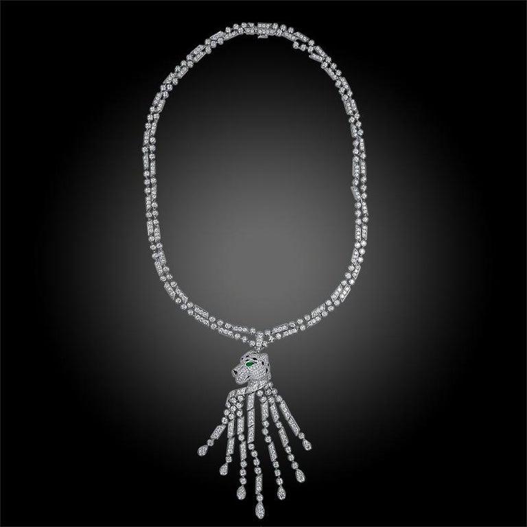 Platinum panther necklace, 682 brilliant-cut diamonds totaling 17.80 carats, emeralds, onyx. Signed Cartier.