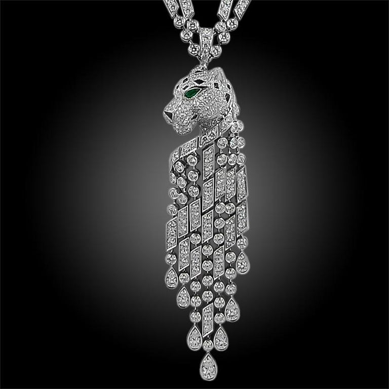 Cartier Diamond, Emerald, Onyx Panther Necklace In Good Condition For Sale In New York, NY