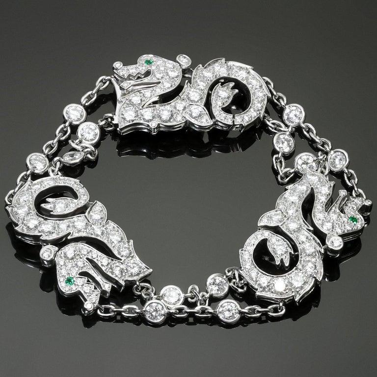Cartier Diamond Emerald White Gold Dragon Bracelet 2